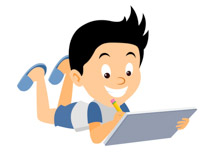 Boy drawing with pencil on pad clipart